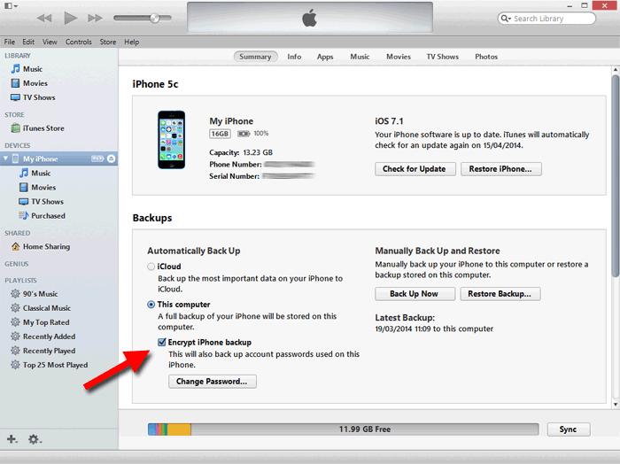 iTunes enkriptovan bekap