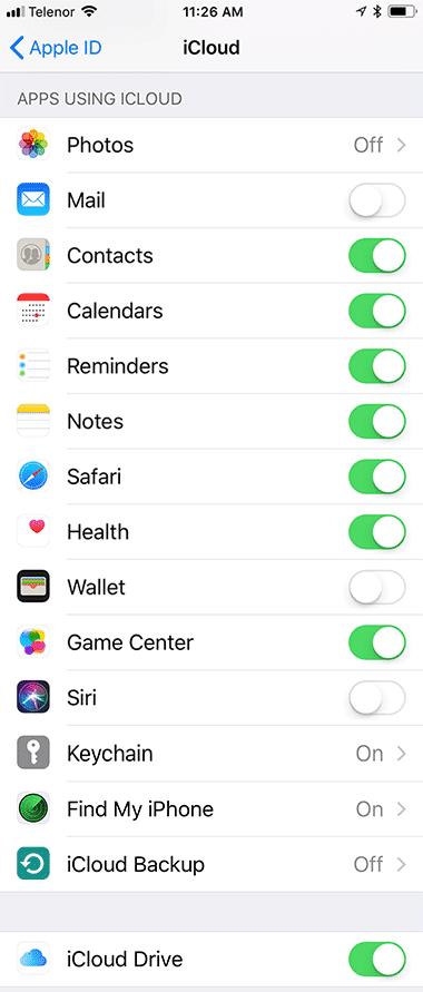 Sta ukljuciti u iCloud opcijama